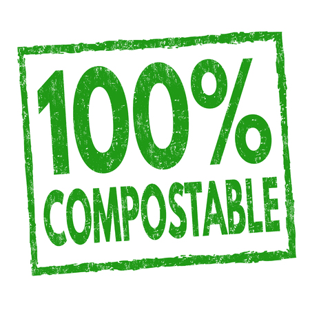 100 % compostable sign or stamp on white background, vector illustration