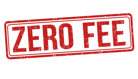 Zero fee sign or stamp on white background, vector illustration