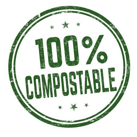 100 % compostable sign or stamp on white background, vector illustration