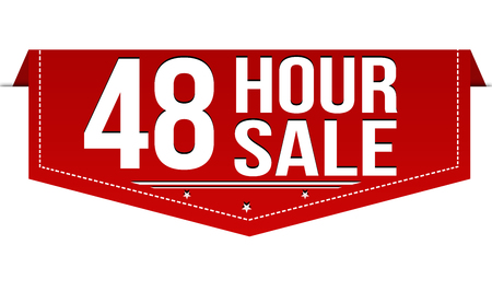 48 hour sale banner design on white background, vector illustration Illustration