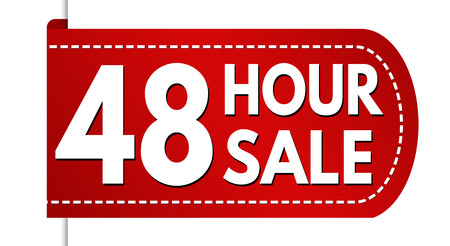 48 hour sale banner design on white background, vector illustration Illustration