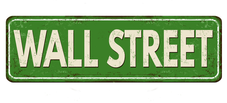 Wall street vintage rusty metal sign on a white background, vector illustration