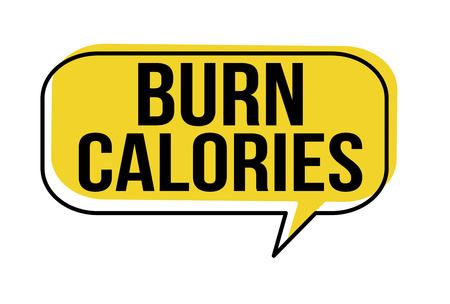 Kalorien Sprechblase auf weißem Hintergrund verbrennen, Vektorillustration