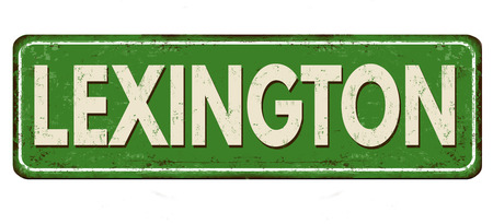 Lexington vintage rusty metal sign on a white background, vector illustration