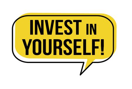 Investieren Sie in sich selbst Sprechblase auf weißem Hintergrund, Vektorillustration