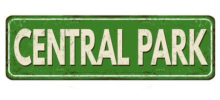 Panneau de métal rouillé vintage de Central Park sur fond blanc, illustration vectorielle
