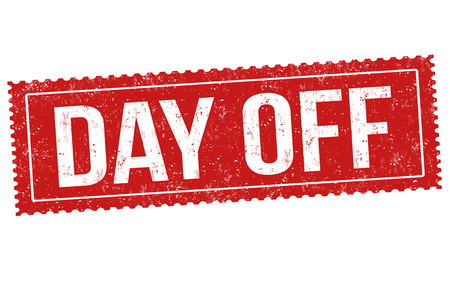 Day off sign or stamp on white background, vector illustration