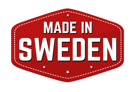 Made in Sweden label or sticker on white background, vector illustration Illustration