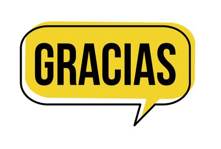 Grazie sulla bolla di discorso di lingua spagnola (Gracias) su sfondo bianco, illustrazione vettoriale Vettoriali
