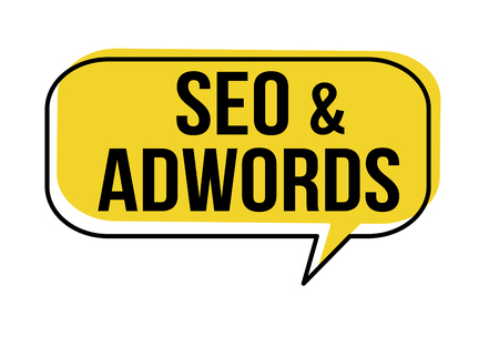 Seo and adwords speech bubble on white background, vector illustration