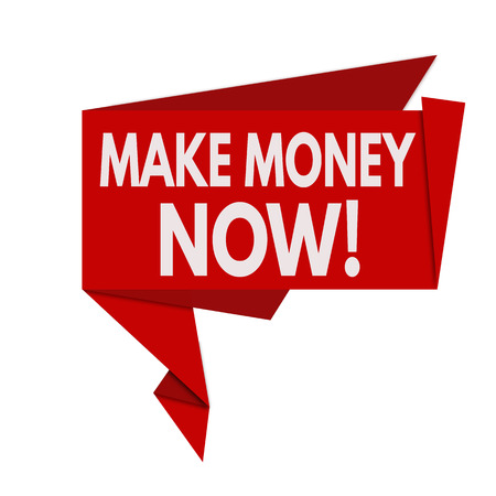 Make money now red origami speech bubble on white background, vector illustration