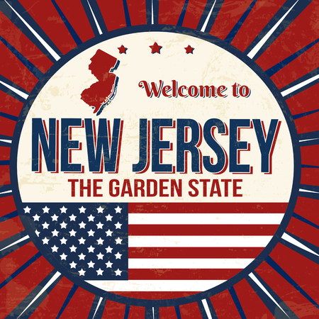 Welcome to New Jersey vintage grunge poster, vector illustration Иллюстрация