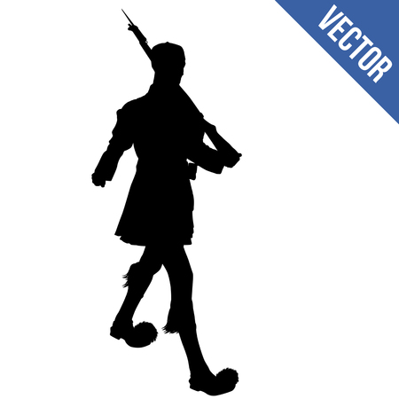 Greece Soldier Guard. Evzone of the Presidential Guard silhouette on white background, vector illustration 일러스트