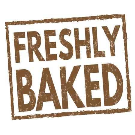 Freshly baked sign or stamp on white background, vector illustration