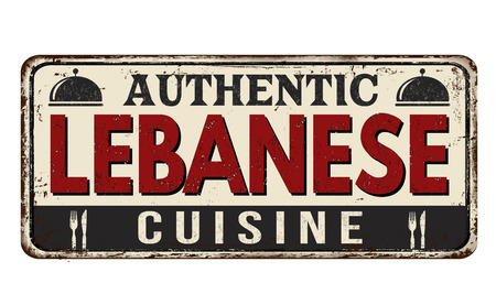 Authentic lebanese cuisine vintage rusty metal sign on a white background, vector illustration