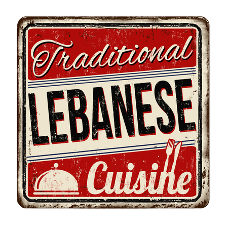 Traditional lebanese cuisine vintage rusty metal sign on a white background, vector illustration