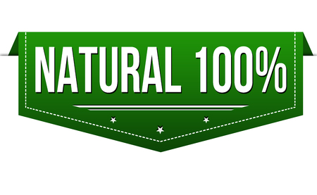 Natural 100% banner design on white background, vector illustration