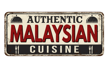Authentic malaysian cuisine vintage rusty metal sign on a white background, vector illustration Ilustração