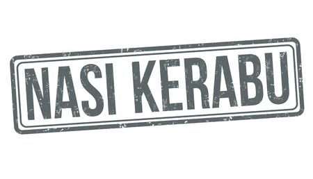 Nasi kerabu sign or stamp on white background, vector illustration