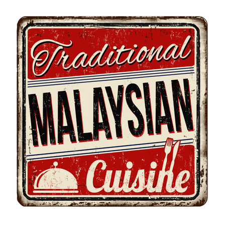 Traditional malaysian cuisine vintage rusty metal sign on a white background, vector illustration