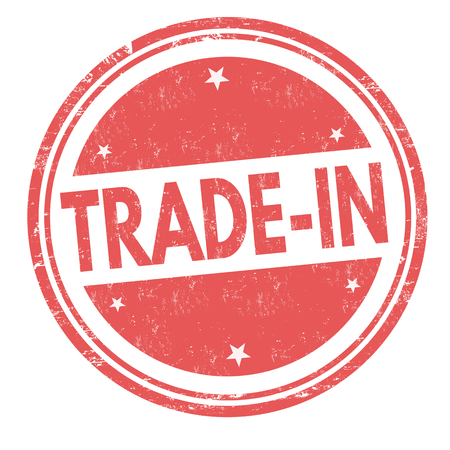 Trade-in sign or stamp on white background, vector illustration