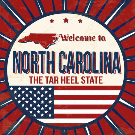 Welcome to North Carolina vintage grunge poster, vector illustration Stock Illustratie