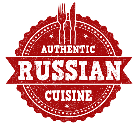 Russian cuisine sign or stamp on white background, vector illustration