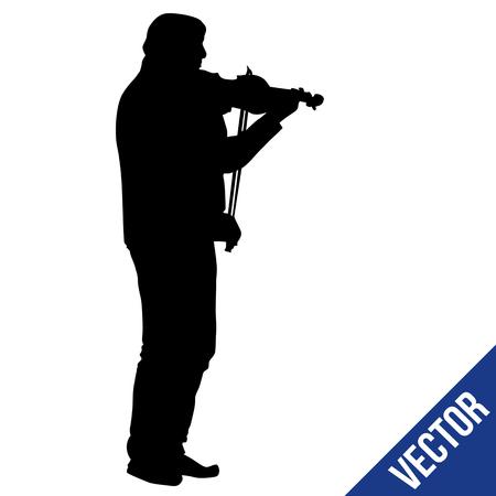 Man silhouette playing violin on white background, vector illustration Vektoros illusztráció