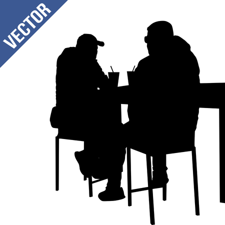 Two mans silhouette sitting at a table in the cafe, bar, restaurant or pub on white background, vector illustration