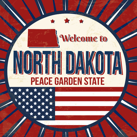 Welcome to North Dakota vintage grunge poster, vector illustration Illustration