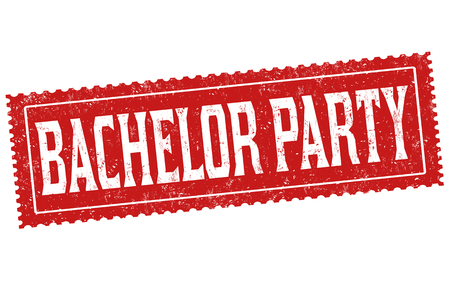 Bachelor party sign or stamp on white background, vector illustration