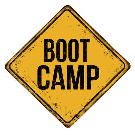 Boot camp vintage letrero de metal oxidado sobre un fondo blanco, ilustración vectorial