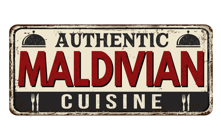 Authentic maldivian cuisine vintage rusty metal sign on a white background, vector illustration