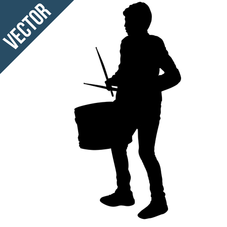 Boy silhouette playing a drum on white background, vector illustration