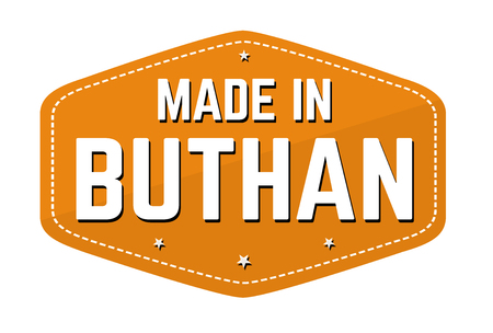 Made in Buthan label or sticker on white background, vector illustration