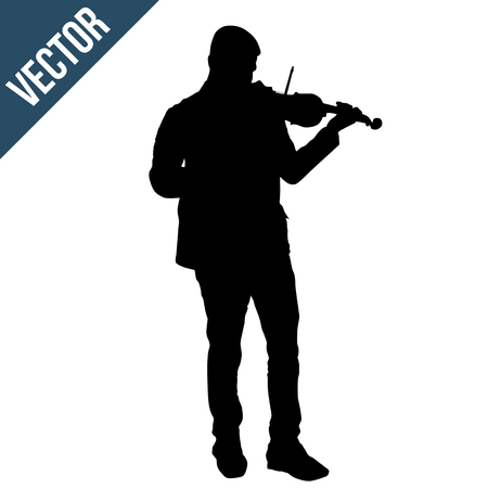 Man silhouette playing violin on white background, vector illustration