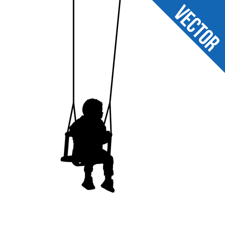 A child silhouette on swing on white backgound, vector illustration Illustration