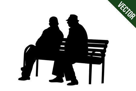 Two elderly people silhouettes sitting on a park bench on white background, vector illustration