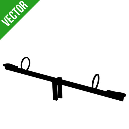 Seesaw silhouette on white background, vector illustration