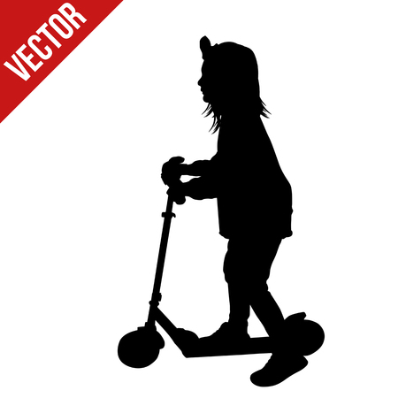 Little girl silhouette riding a scooter on white background, vector illustration