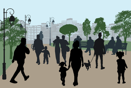 People silhouettes in a city park, vector illustration Ilustracje wektorowe