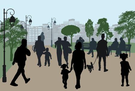 Sagome di persone in un parco cittadino, illustrazione vettoriale Vettoriali