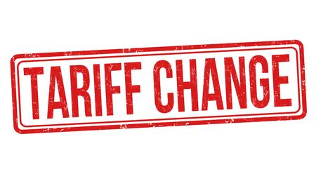 Tariff change sign or stamp on white background, vector illustration