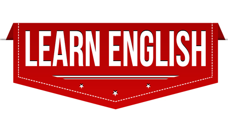 Learn english banner design on white background, vector illustration