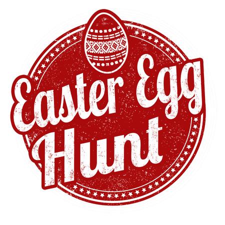 Easter egg hunt sign or stamp on white background, vector illustration