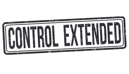 Control extended sign or stamp on white background, vector illustration