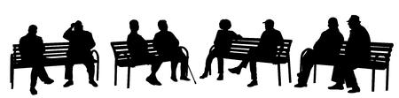 Sagome di persone sedute su una panchina su sfondo bianco, illustrazione vettoriale