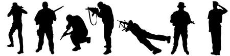 Siluetas de soldados sobre fondo blanco, ilustración vectorial