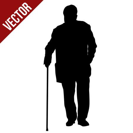 Silueta de anciano con palo sobre fondo blanco, ilustración vectorial