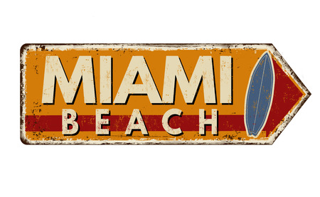 Miami beach vintage rusty metal sign on a white background, vector illustration